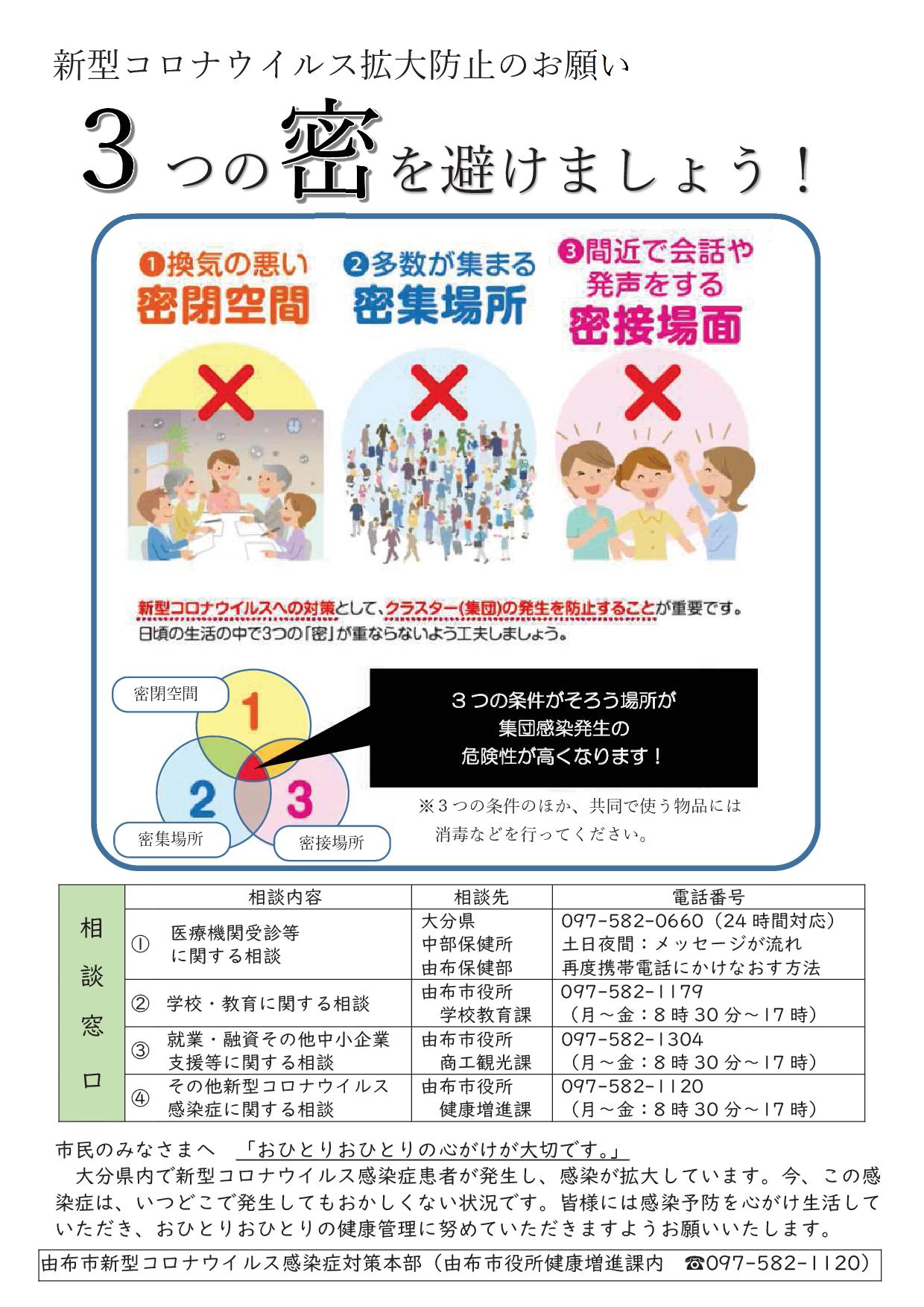 コロナウイルス感染拡大防止のチラシ(表)